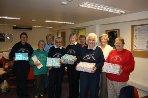 Hilary, left, with her team of Operation Christmas child volunteers