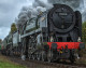It's Rule Britannia as The Cathedrals Express steam train calls at Melksham
