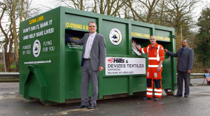 Pictured: l-r, Steve Burns, divisional director, Hills Waste Solutions; Wiltshire Air Ambulance paramedic, Matt Baskerville and Shahid Siddiq, managing director of Devizes Textiles Ltd, show just how easy it is to recycle your unwanted textiles and raise funds.