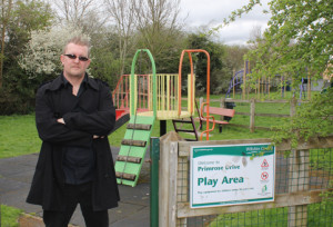 "Resident Richard Joy outside the ""dangerous"" play park"