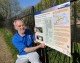 Melksham riverside boards show proposed route of canal