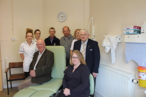 Staff from Melksham podiatry department and Melksham Hospital Friends celebrate the arrival of the new equipment