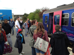 Passengers about to join the Swindon train at Melksham on a Saturday in April 2014