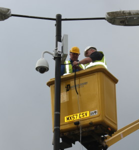Melksham's new CCTV camera is installed.