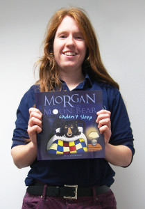 Amy Whitewick with her book 'Morgan the Moon Bear Couldn't Sleep'