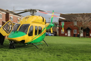 Wiltshire Air Ambulance on the ground in Bowerhill