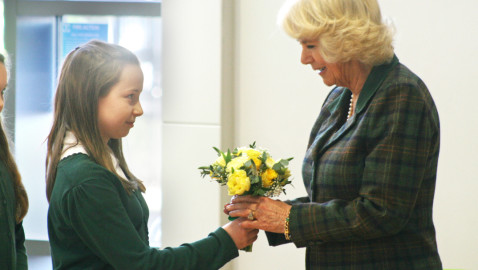 Daffodils for the Duchess!  Spring posy for Camilla as she officially opens new school