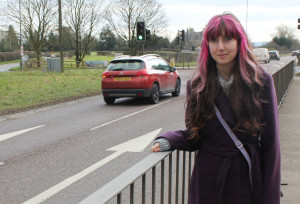 Kim Seviour at the A350 Lacock crossroads