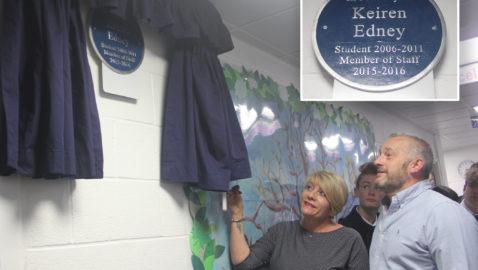 Memorial plaque unveiled for Keiren Edney at Melksham Oak