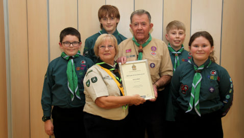 Scout leader's award for 60 years of service