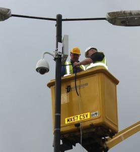 Melksham's new CCTV camera is installed.